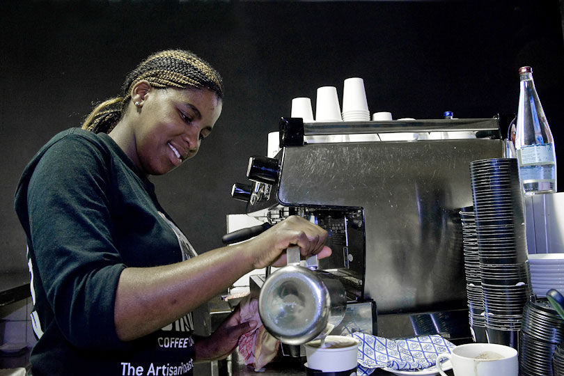 Barista working, Cape Town, South Africa