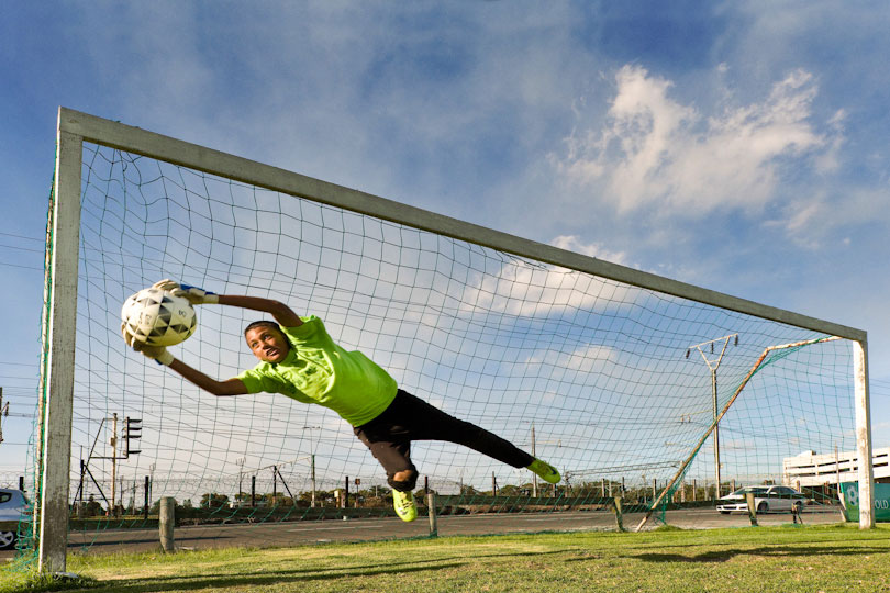 Goal keeper at Old Mutual Football Academy, Cape Town, South Africa