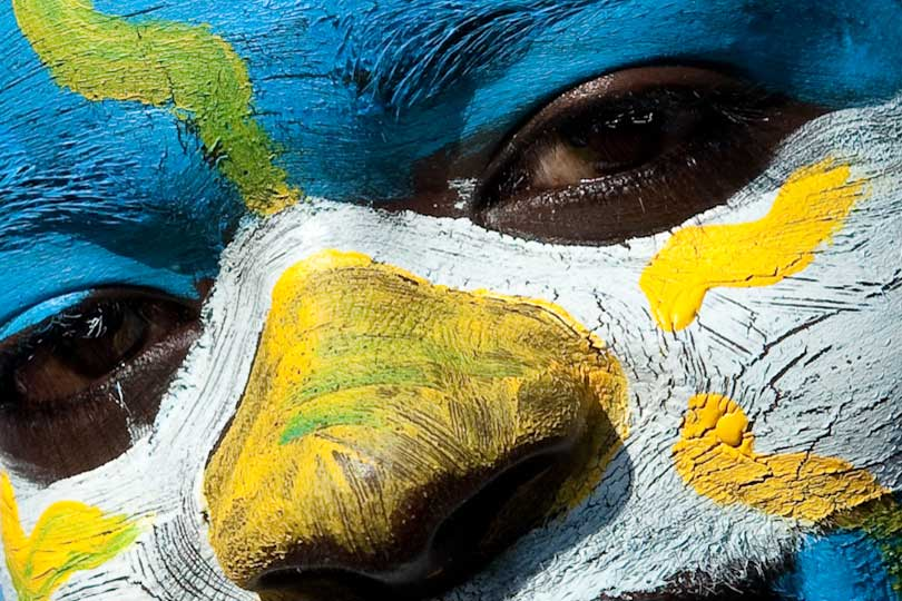 Football fan with Argentine face paint, World Cup 2010, Cape Town, South Africa