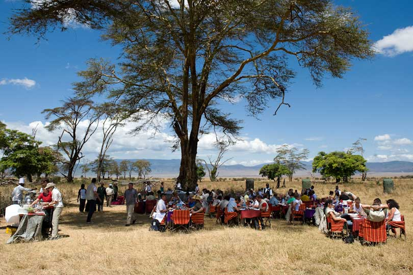 Clients having lunch in Ngorongoro Crater, Tanzania