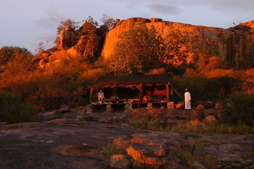 Luxury dining tent at sunset, Loliondo, Tanzania